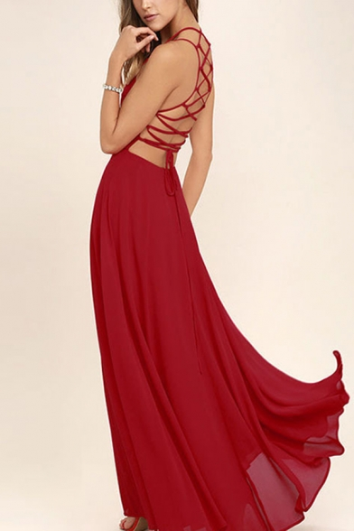 Amazing Womens Lace-up Back Sleeveless Maxi Flowy Cami Dress in Red