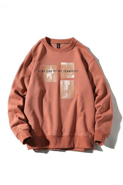 Casual Letter Stay Out of My Territory Pattern Long Sleeve Crew Neck Oversize Pullover Sweatshirt for Men