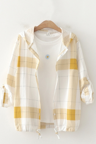 Casual Sun-protection Plaid Printed Long Sleeve Hooded Button down Drawstring Hem Relaxed Shirt Top