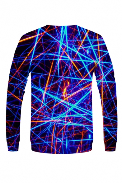 Fashionable 3D Visual Deception Pattern Pullover Long Sleeve Round Neck Fitted Sweatshirt for Men