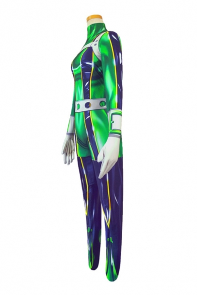 Fashionable Girls Contrasted Long Sleeve High Neck Long Skinny Cosplay Jumpsuit in Green