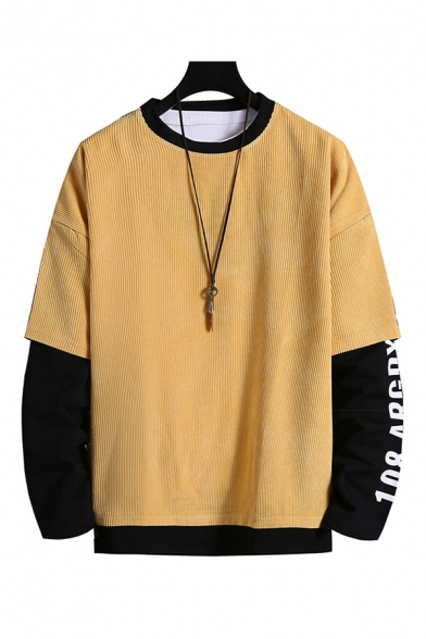 Fashionable Mens Colorblock Letter Printed Pullover Long Sleeve Round Neck Relaxed Fitted Fake Two Piece Sweatshirt