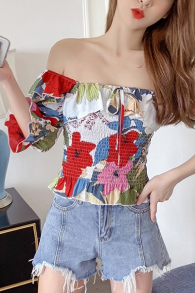 Popular All over Floral Print Ruffled Bow Tied Pleated Short Sleeve Off the Shoulder Fit Crop T Shirt for Women