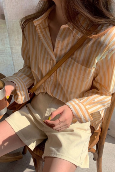 Popular Stripe Pattern Long Sleeve Spread Collar Chest Pocket Button up Relaxed Shirt Top in Yellow