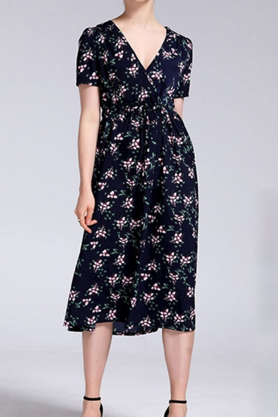 Pretty All over Flower Short Sleeve V-neck Mid A-line Dress in Blue