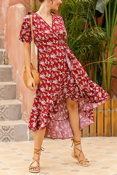 Pretty Girls Allover Flower Printed Short Sleeve Surplice Neck Bow Tied Waist Long Wrap Dress in Burgundy