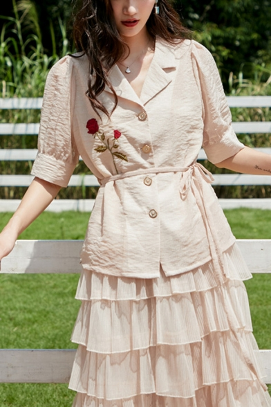 Retro Rose Embrodery Lapel Collar Button Up Tie Waist Short Puff Sleeve Slim Fitted Shirt for Women