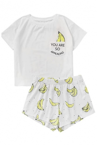 Cute Letter You Are So Appealing Banana Graphic Chest Pocket Short Sleeve Crew Neck Fit Tee & Shorts in White