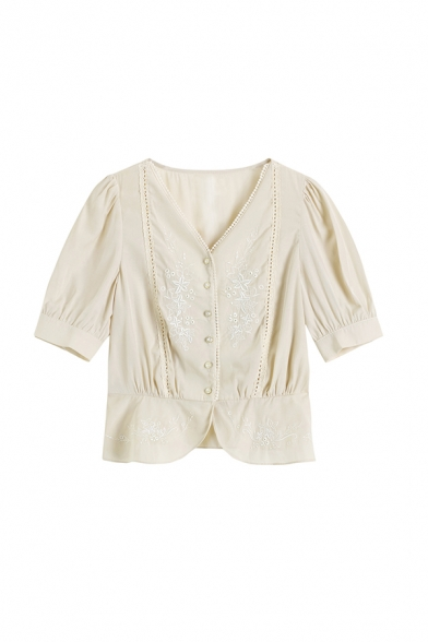 Elegant Womens Solid Color Floral Embroidery Print Pleated Lace Trim Cut Out Button Down V Neck Short Puff Sleeve Regular Fit Shirt in Beige