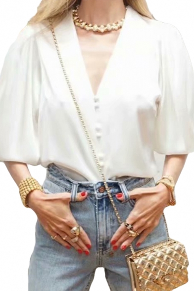Elegant Womens White Balloon Long Sleeve V-neck Button up Relaxed Fit Blouse Top