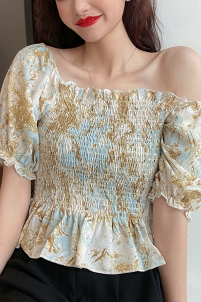 Fancy Ladies All over Floral Print Stringy Selvedge Puff Sleeve Square Neck Pintuck Ruffled Slim Fit Blouse