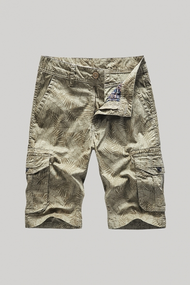 Fancy Men's Shorts Leaf All over Print Zip Fly Button Detail Straight Fit Chino Shorts with Flap Pockets