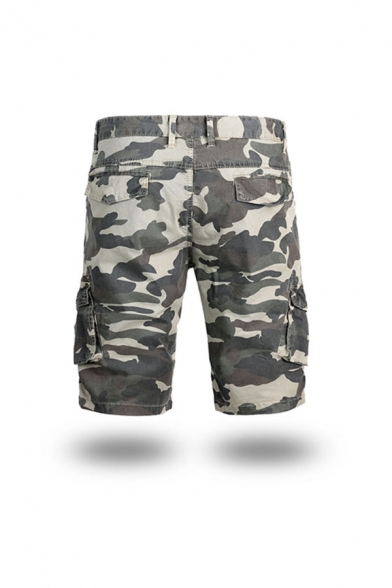 Fashionable Mens Camo Pattern Zip-fly Button Pockets Knee Length Straight Fit Cargo Shorts