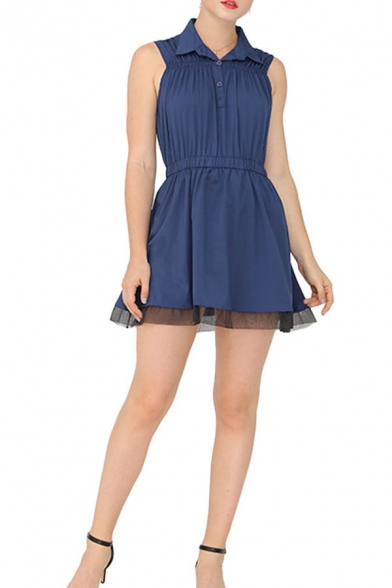 Formal Womens Sleeveless Turn down Collar Button Detail Ruched Mesh Patched Mini A-line Dress in Blue