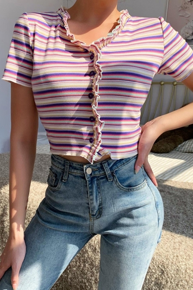 Girls Fancy Stripe Printed Stringy Selvedge Button up Short Sleeve Crew Neck Fit Knit Crop Tee in Purple
