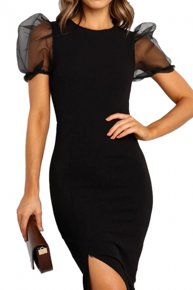 Ladies Solid Color Sheer Mesh Puff Sleeve Round Neck Slit Side Mid Bodycon Pageant Dress in Black