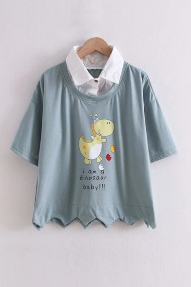 Lovely Girls Letter I Am A Dinosaur Baby Cartoon Dinosaur Printed Asymmetric Button Detail Collar Short Sleeve Regular Fit Fake Two Piece Hoodie
