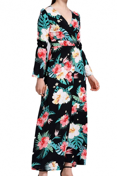 Popular Allover Floral Print Bell Sleeve V-neck Long A-line Dress in Black