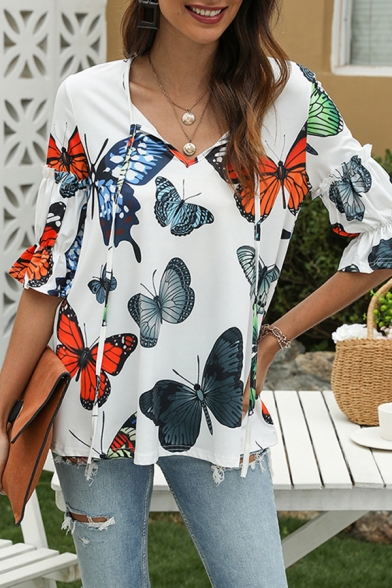 Popular Ladies Allover Butterfly Print Bell Sleeve V-neck Relaxed T-shirt in White