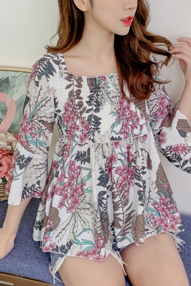 Popular Womens All over Leaf Print Bell Sleeve Square Neck Pintuck Ruffled Slim Fit T-shirt