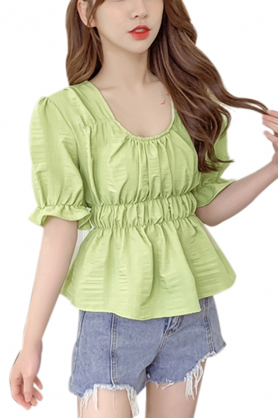 Popular Womens Solid Color Puff Sleeve Scoop Neck Ruched Ruffled Regular Fit Blouse