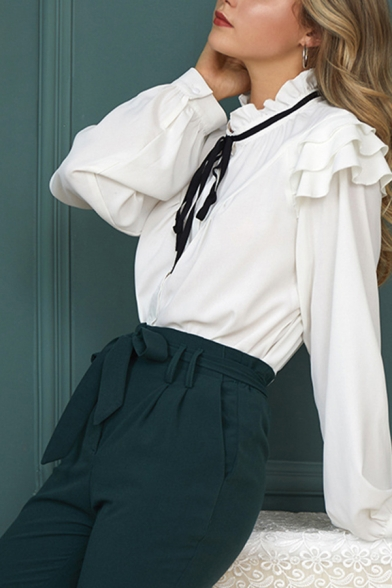 Popular Womens Stringy Selvedge Long Sleeve Stand Collar Bow Tied Loose Fit Shirt in White
