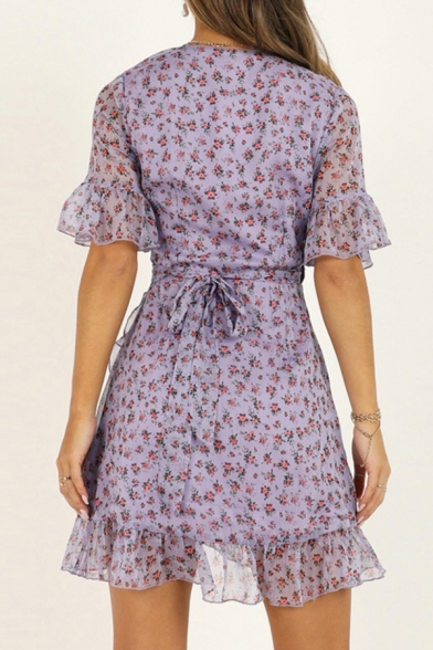 Pretty Womens Chiffon Ditsy Flower Print Bell Sleeve Ruffled Bow Tied Waist Mini Wrap Dress in Purple