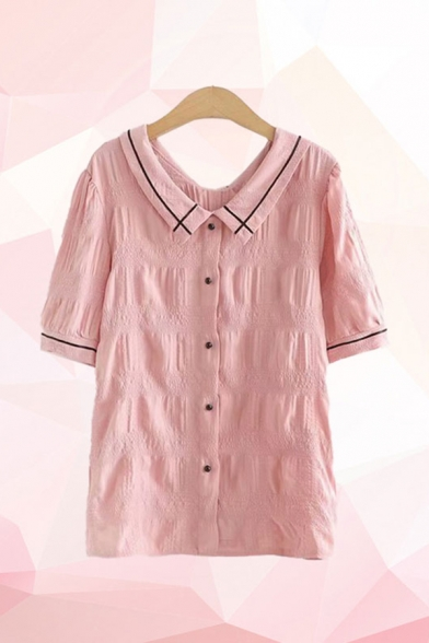 Pretty Womens Striped Short Sleeve Point Collar Button down Pleated Relaxed Shirt Top