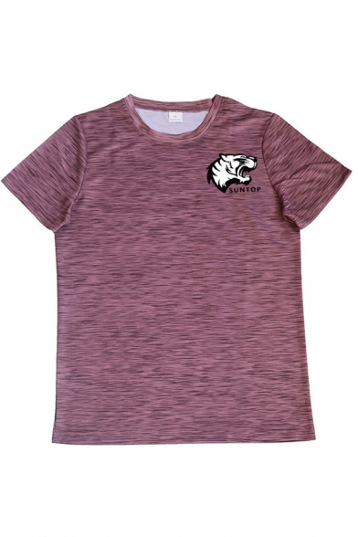 Stylish Animal Letter Suntop Print Round Neck Short Sleeve Slim Fitted Graphic Tee Top for Men