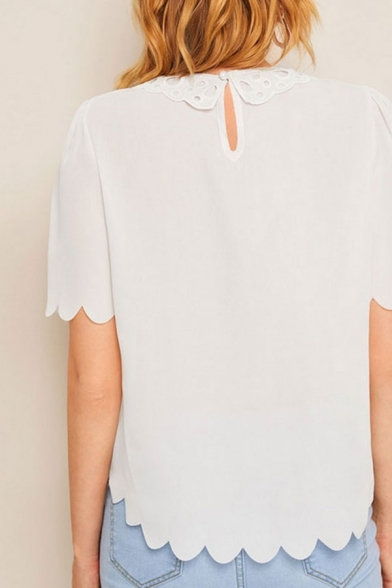 Stylish Womens Scalloped Short Sleeve Hollow out Panel Crew Neck Chiffon Loose Blouse Top in White