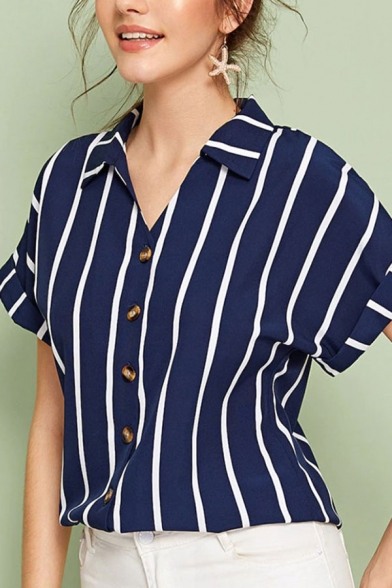 Trendy Womens Stripe Printed Rolled Short Sleeve Turn down Collar Button up Relaxed Shirt