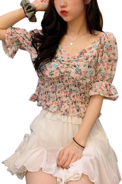 Womens Fashionable Ditsy Floral Pattern Stringy Selvedge Pintuck Pearl Button Detail Short Sleeve V-neck Slim Fit Shirt