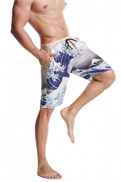Basic Mens 3D Relax Shorts Wave Mountain Printed Drawstring Waist Regular Fitted Relax Shorts in White