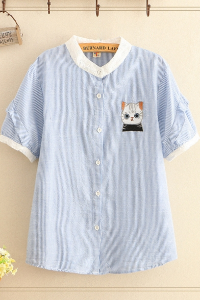 Cat Embroidered Stripe Printed Contrasted Stringy Selvedge Short Sleeve Crew Neck Button up Loose Stylish Shirt Top in Blue