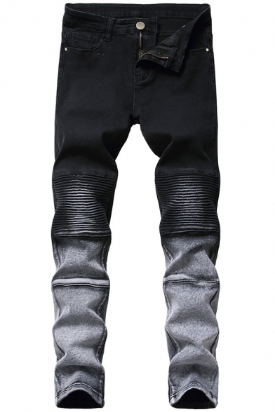 Dressy Mens Ombre Stacked Pocket Zipper Mid Rise Full Length Slim Fitted Jeans