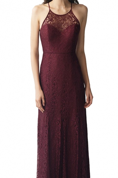 Elegant Womens Lace Patched Strappy Maxi Shift Slip Evening Dress in Burgundy