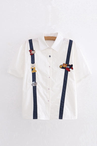 New Stylish Womens Color Block Animals Number Airship Embroidery Printed Button Down Collar Short Sleeve Regular Fit Shirt