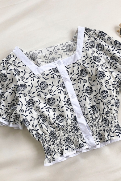 Preppy Girls Floral Printed Pleated Button Down Patchwork Ruffle Trim Square Neck Short Puff Sleeve Slim Fit Crop Blouse