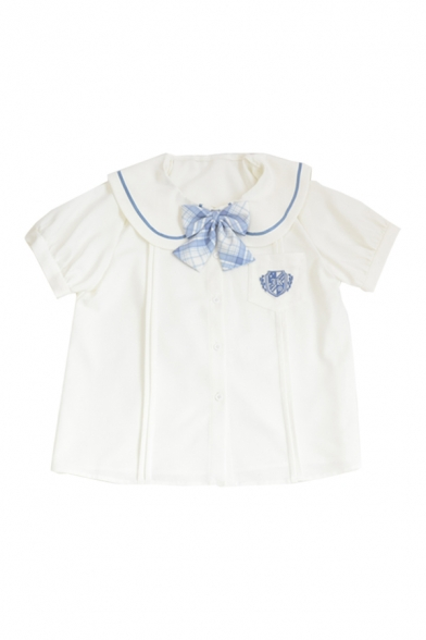 Stylish Girls Badge Embroidery Print Bow Pocket Pleated Button Down Contrast Piping Sailor Collar Short Sleeve Regular Fit Shirt in White