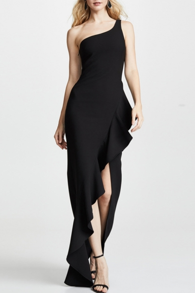Boutique Womens One Shoulder Ruffled Asymmetric Hem Maxi Flowy Tank Gown Dress in Black