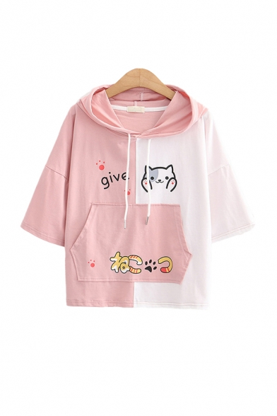 Chic Girls Colorblock Letter Give Cartoon Cat Footprint Printed Pocket Drawstring Hooded Short Sleeve Regular Fit Graphic Hoodie
