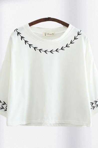 Classic Womens Floral Print Long Sleeve Round Neck Relaxed Fit T Shirt in White