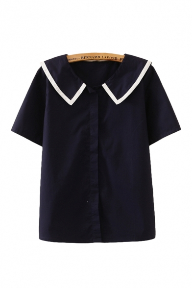 Daily Contrast Trim Letter Ideal Life Embroidered Short Sleeve Sailor Collar Regular Fit Graphic Shirt for Women