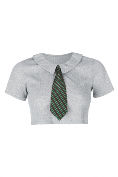 Edgy Womens Gray Short Sleeve Point Collar Knitted Slim Fit Cropped Shirt with Striped Tie