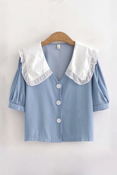 Fancy Girls Colorblock Printed Button Down Ruffle Trim Lapel Collar Short Puff Sleeve Relaxed Fitted Shirt