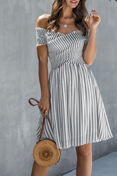 Fashion Womens Stripe Printed Off the Shoulder Criss Cross Short Pleated A-line Dress