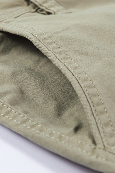 Leisure Men's Shorts Plain Zip Fly Button Detail Straight Fit Chino Shorts with Flap Pockets