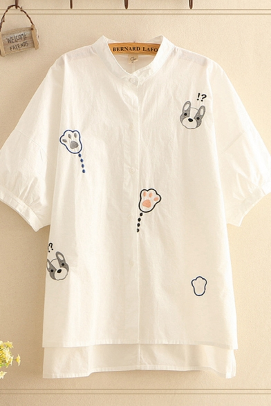 Preppy Girls Dog Paw Embroidered Half Sleeve Stand Collar Button up High Low Hem Relaxed Fit Shirt Top in White