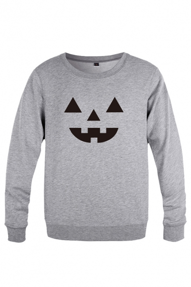 Stylish Halloween Ghost Face Pattern Long Sleeve Round Neck Regular Fitted Pullover Sweatshirt for Men