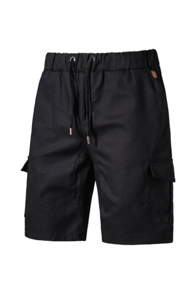 Stylish Men's Plain Drawstring Knee Length Regular Fitted Cargo Shorts with Pockets